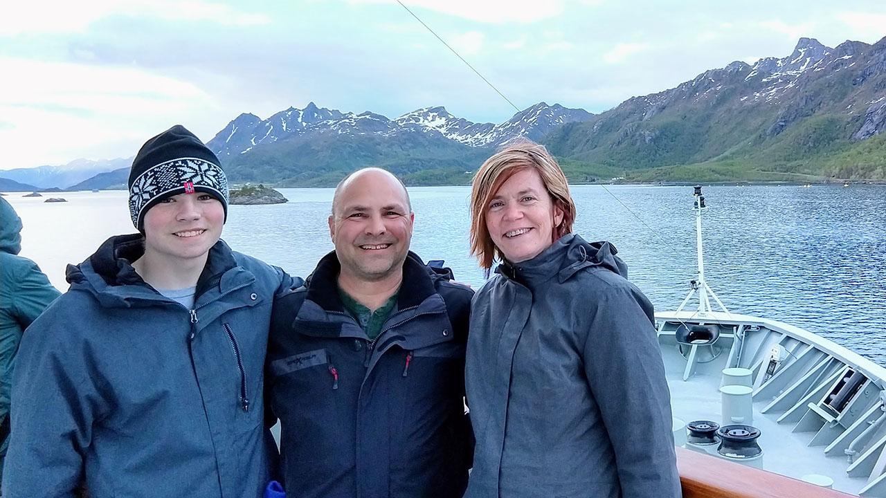 My family on a Hurtigruten Boat along Norway