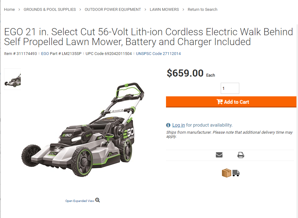 Screenshot from Home Depot Pro of EGO' Select Cut Mower